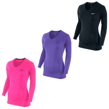 Nike Ladies Pro Long Sleeve V Neck II Top SP12