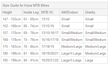Bike 29er Sizing Kona Splice er