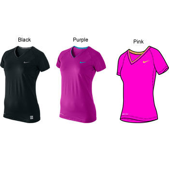 Nike Ladies Compression Pro Fitted SS V Neck Top AW11.