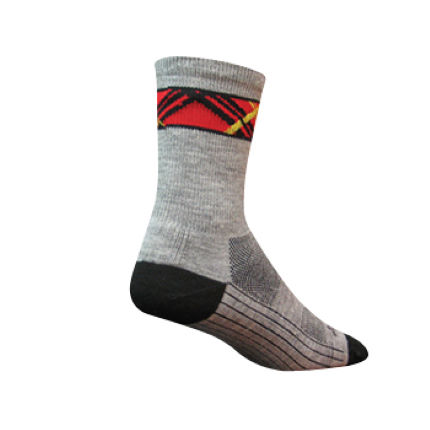 SockGuy Plaid Fog 5 inch Elite Tech Wool Cycling Socks