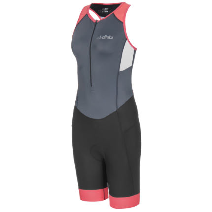 dhb Women's Classic Tri Suit Black/Green UK 16