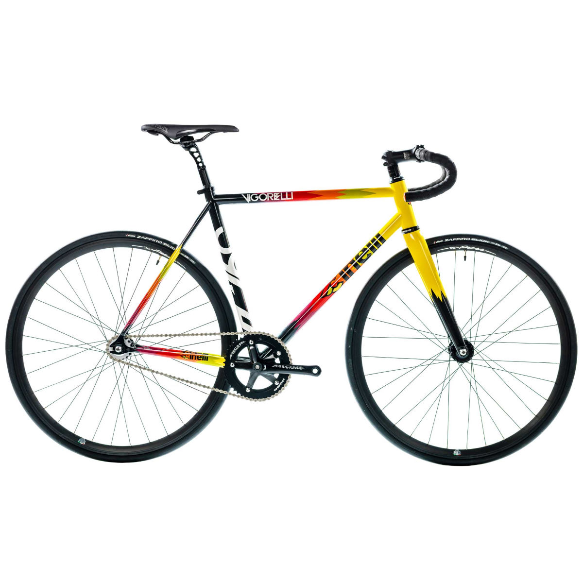 Vélo Cinelli Vigorelli (acier, single speed, 2017) - M Stock Bike White/Yellow Single speed