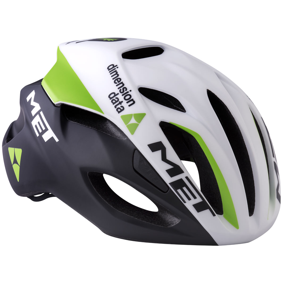 MET - Dimension Data Rivale Aero Road Helmet Black/Green - Medium