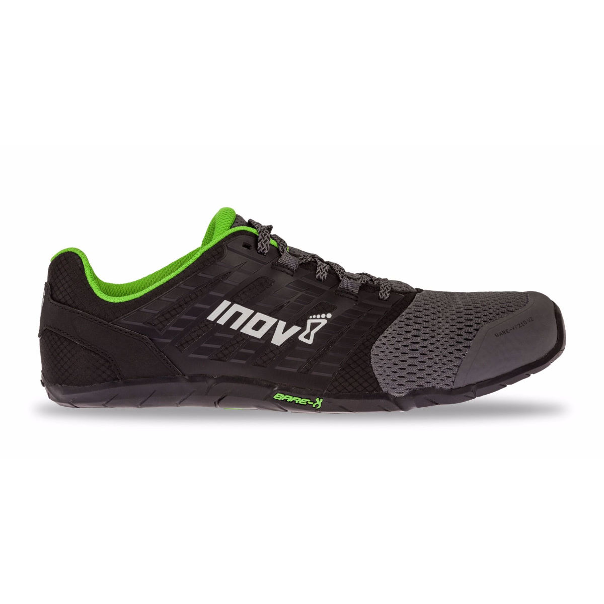 Chaussures Inov-8 Bare-XF 210 v2 - UK 11 GREY/BLACK/GREEN