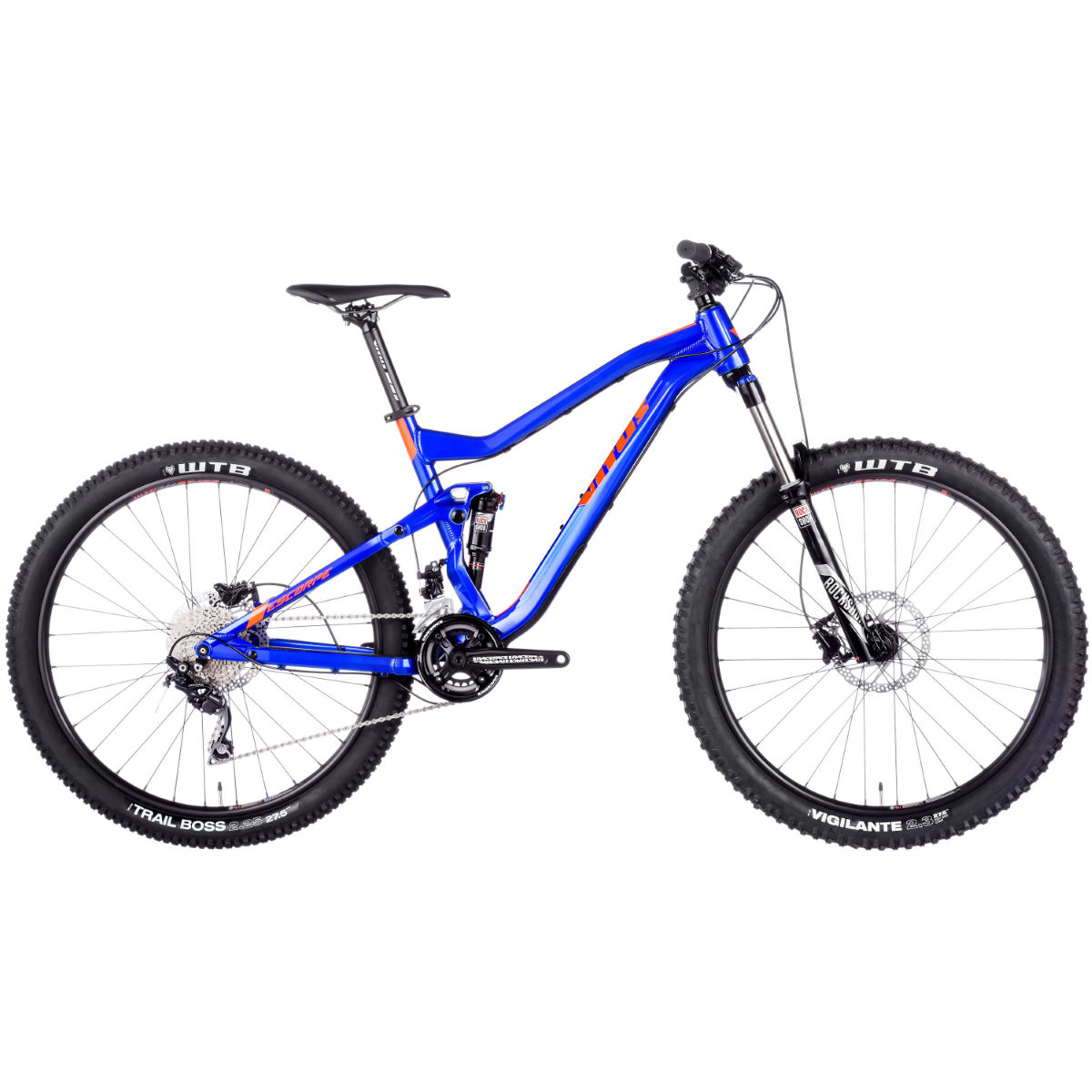 VTT Vitus Escarpe (2017) - Small Stock Bike Blue/Orange VTT tout suspendu