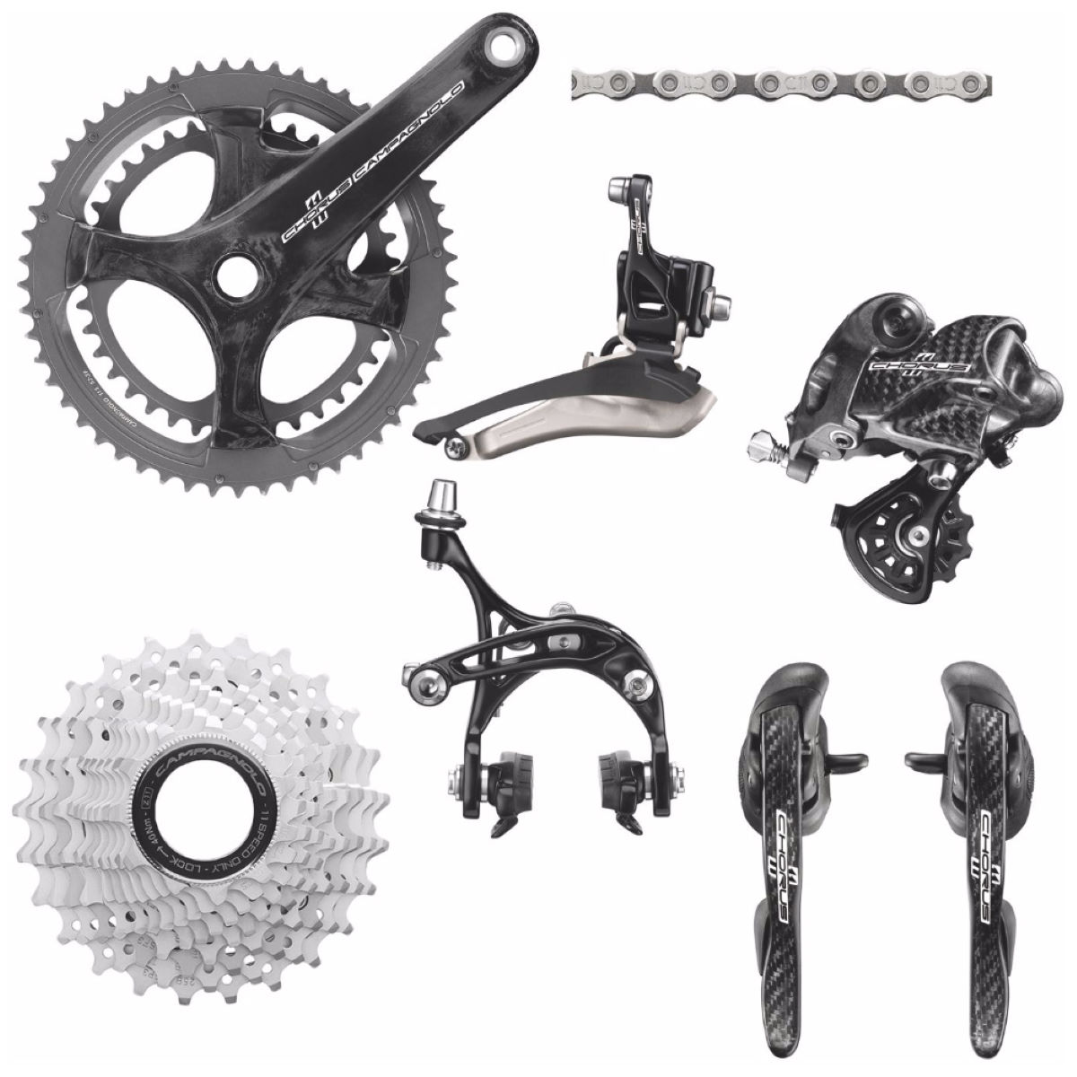 Campagnolo Chorus 11 Speed Groupset 2015 - 52/36 x 12-27T 170mm Noir Groupes