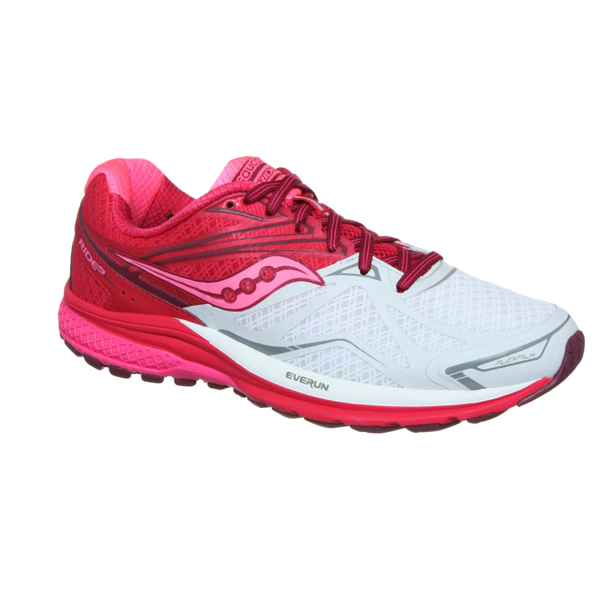 Chaussures Femme Saucony Ride 9 - UK 4 White / Berry / Pink