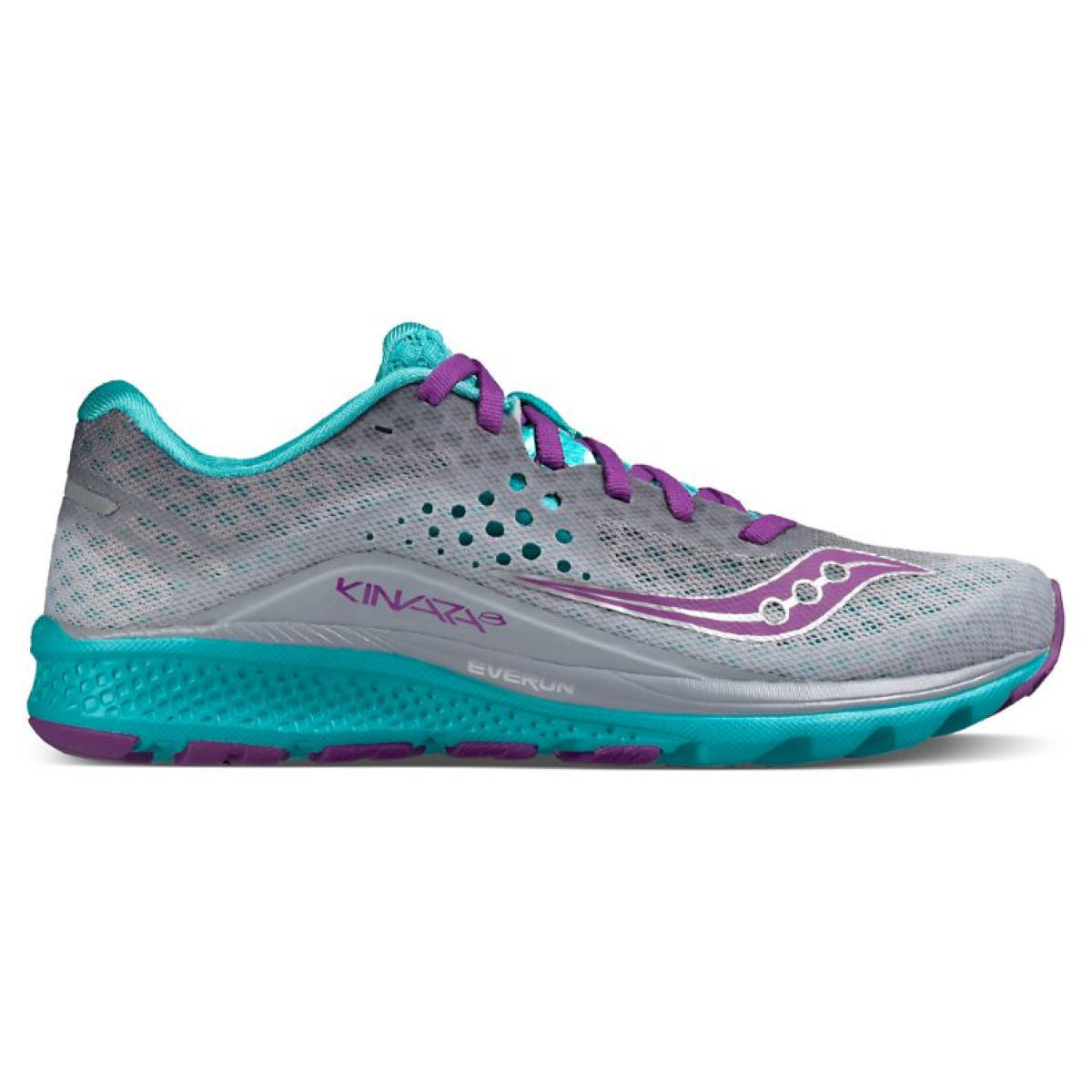 Chaussures Femme Saucony Kinvara 8 - UK 5 Grey / Teal / Purple