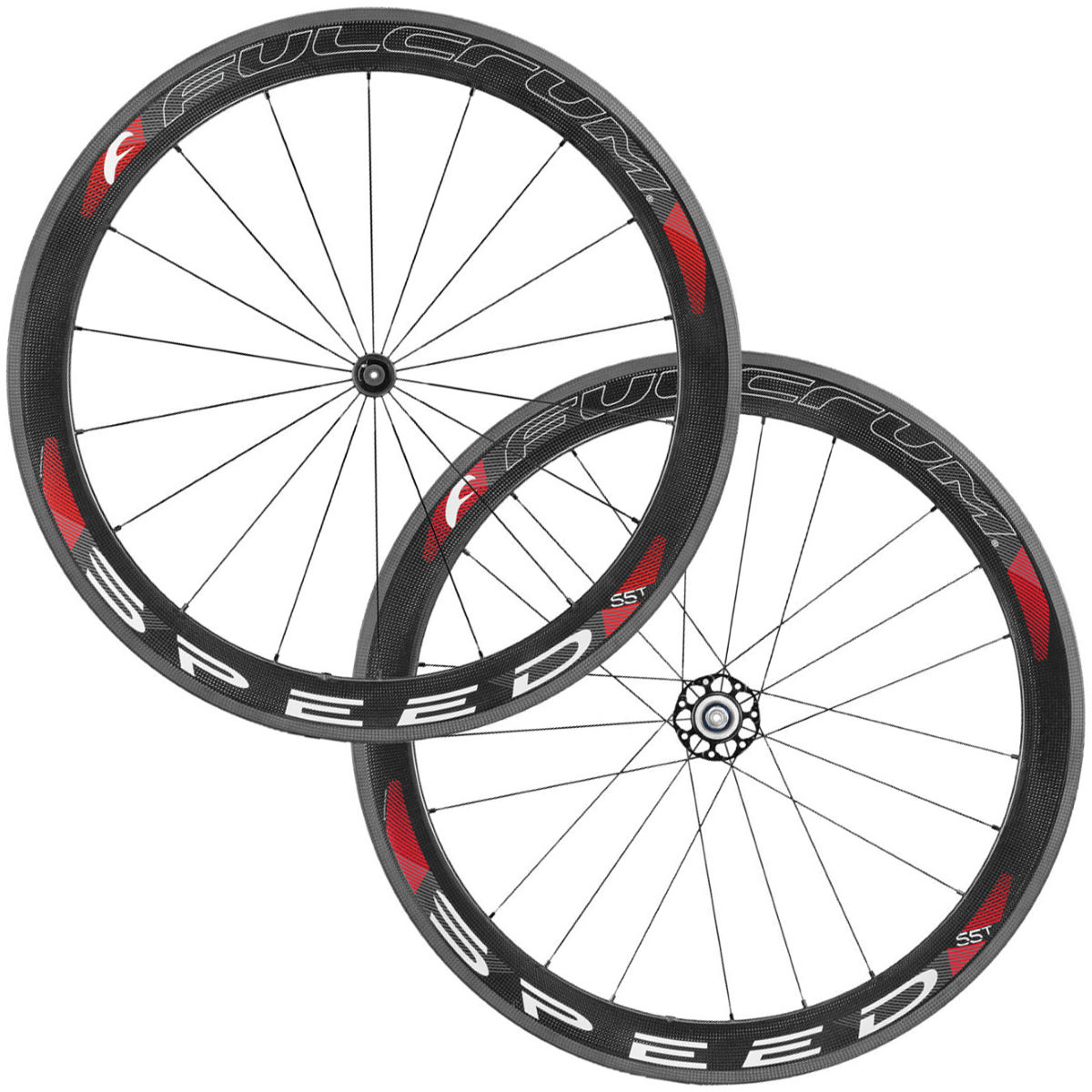Fulcrum SPEED 55T Carbon Tubular Wheelset - 700c Campagnolo Carbon / Red Roues performance