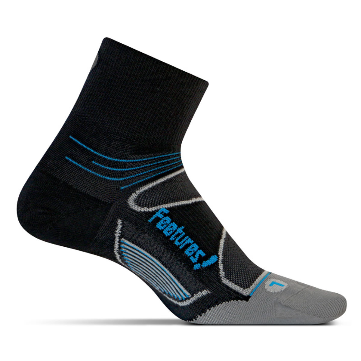 Chaussettes Feetures! Elite Ultra Light Quarter - L Black/Brill Blue
