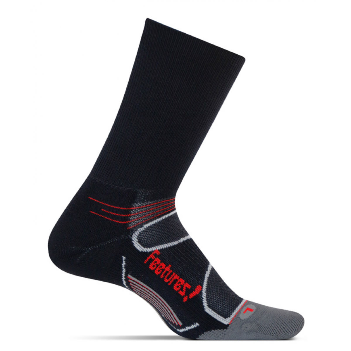 Chaussettes Feetures! Elite Light Cushion Mini Crew - L Noir/Rouge