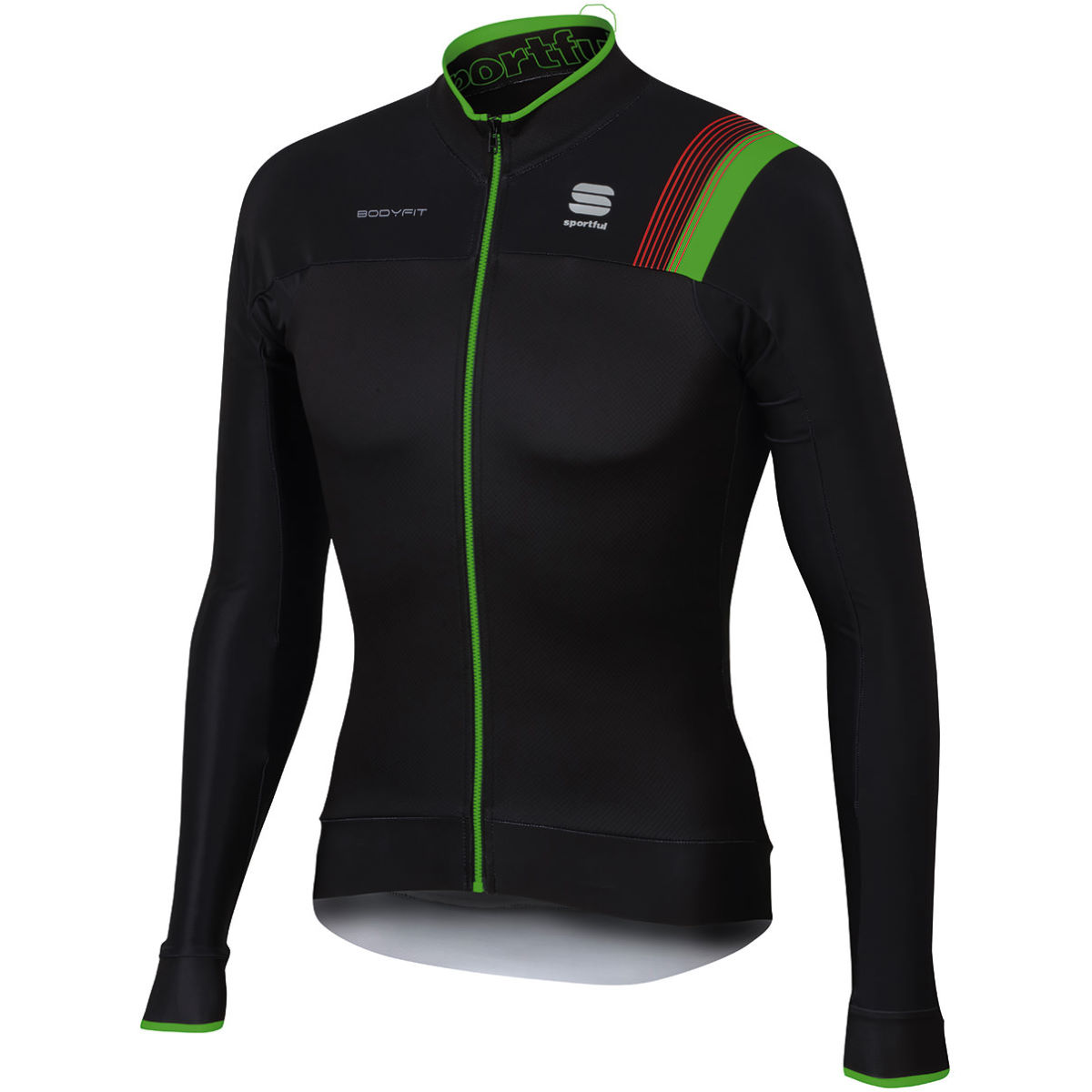 Maillot Sportful BodyFit Pro Thermal - M Black/Green Fluo/Red