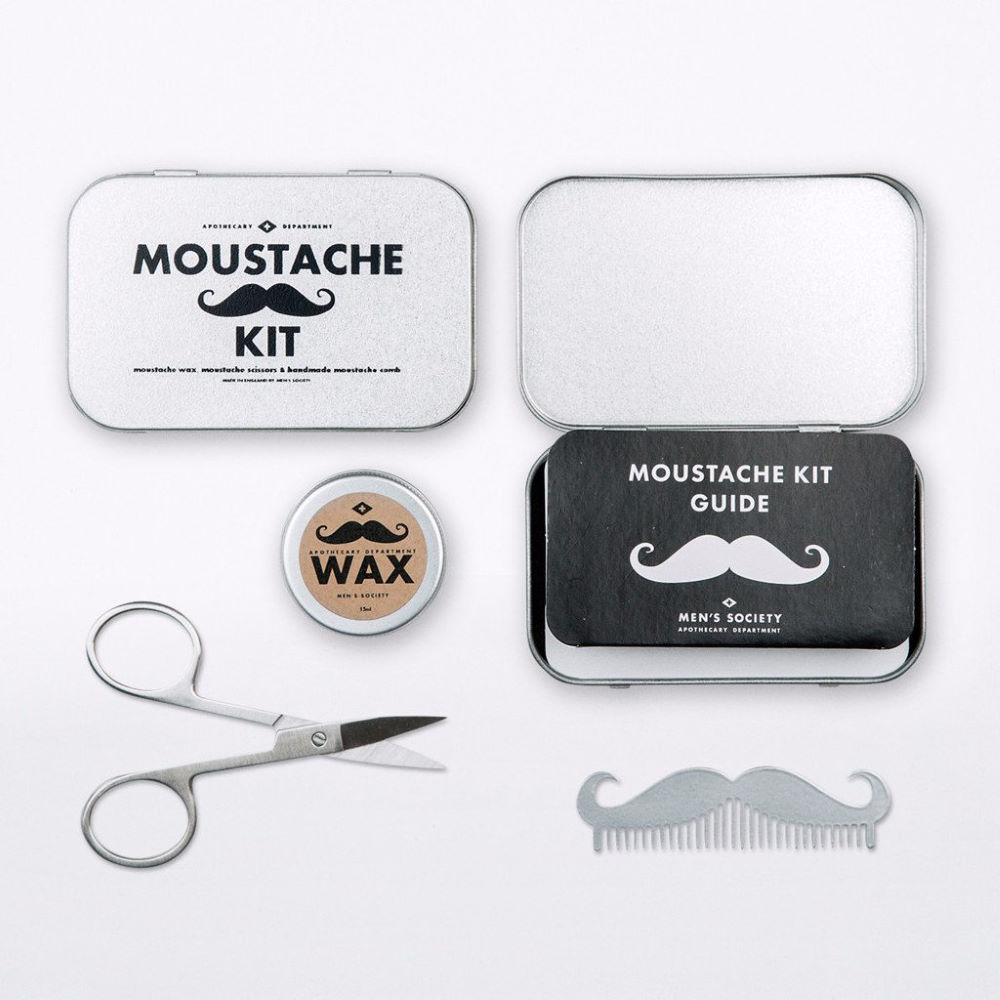 wiggle men 39 s society moustache grooming kit gift items. Black Bedroom Furniture Sets. Home Design Ideas