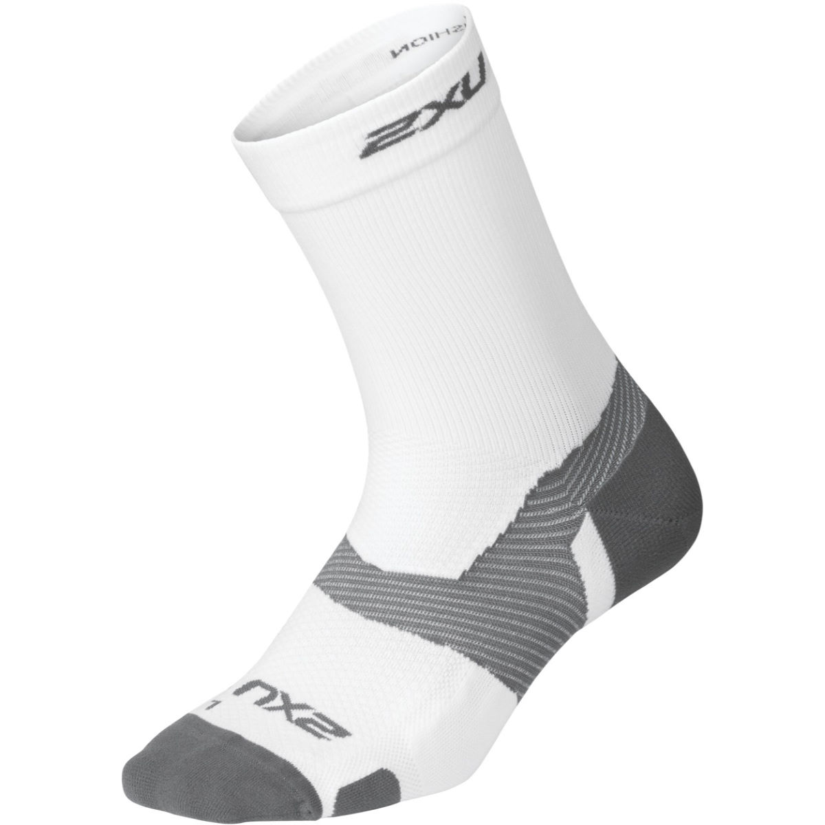 Chaussettes 2XU Vectr Light Cushion Crew (blanches) - S Blanc/Gris
