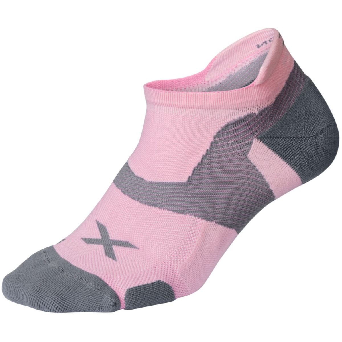 Chaussettes 2XU Vectr Cushion No Show (roses) - M Dusty Pink/Grey