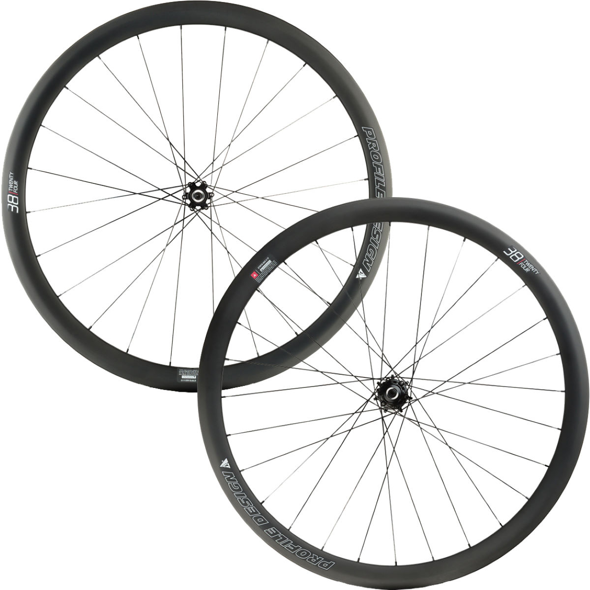 Profile Design 38 TwentyFour Full Carbon Clincher Disc Wheelset - 700c Shimano/SRAM Noir Roues performance
