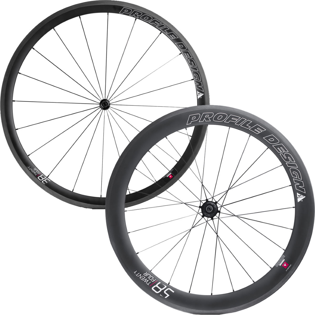 Profile Design 38/58 Twenty Four Full Carbon Clincher Wheelset - 700c Shimano/SRAM Noir Roues performance