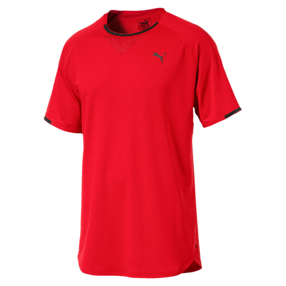 Puma Energy Laser Short Sleeve Gym Tee - S Flame Scarlet Heathe