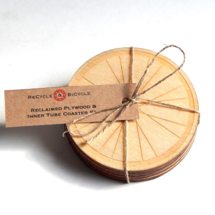 Recycle and Bicycle Reclaimed Plywood and Inner Tube Bicycle Wheel Coast