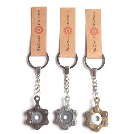 Recycle and Bicycle Recycled Bike Chain Keyring