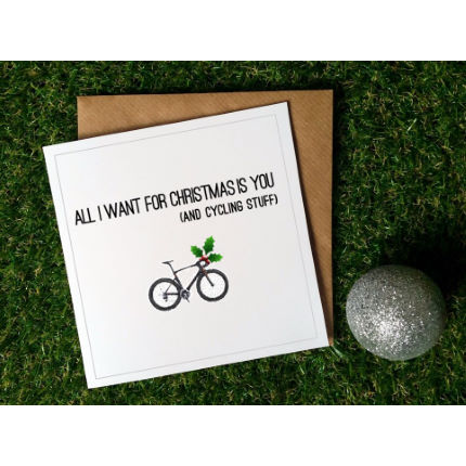 Worry Less Designs Cycling Christmas Cards (Pack of 8)