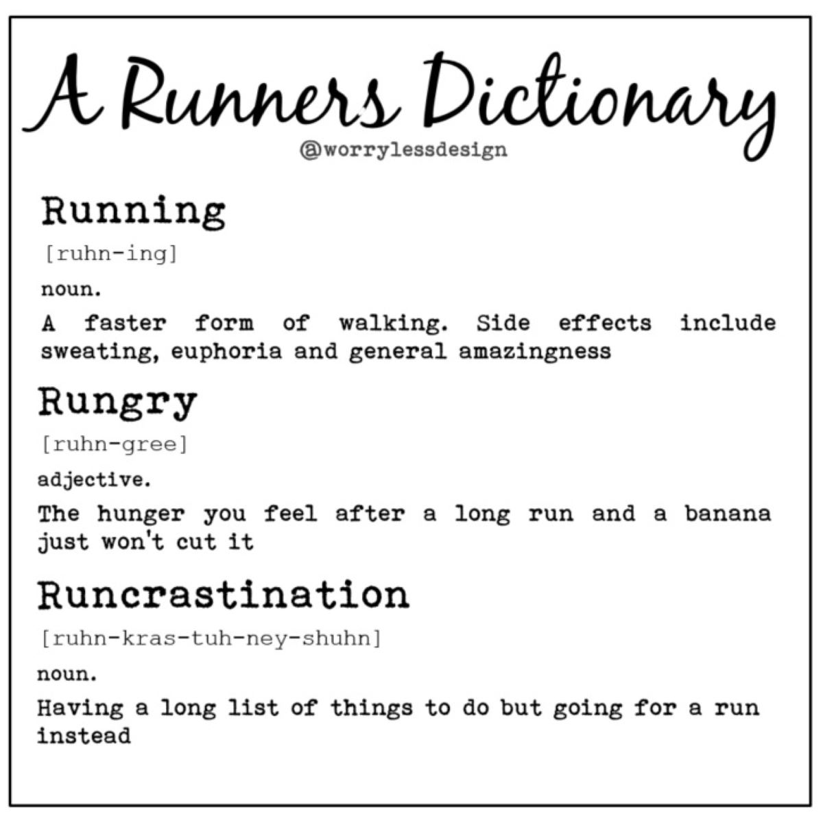 Worry Less Designs Runners Dictionary Greeting Card - Gaveideer