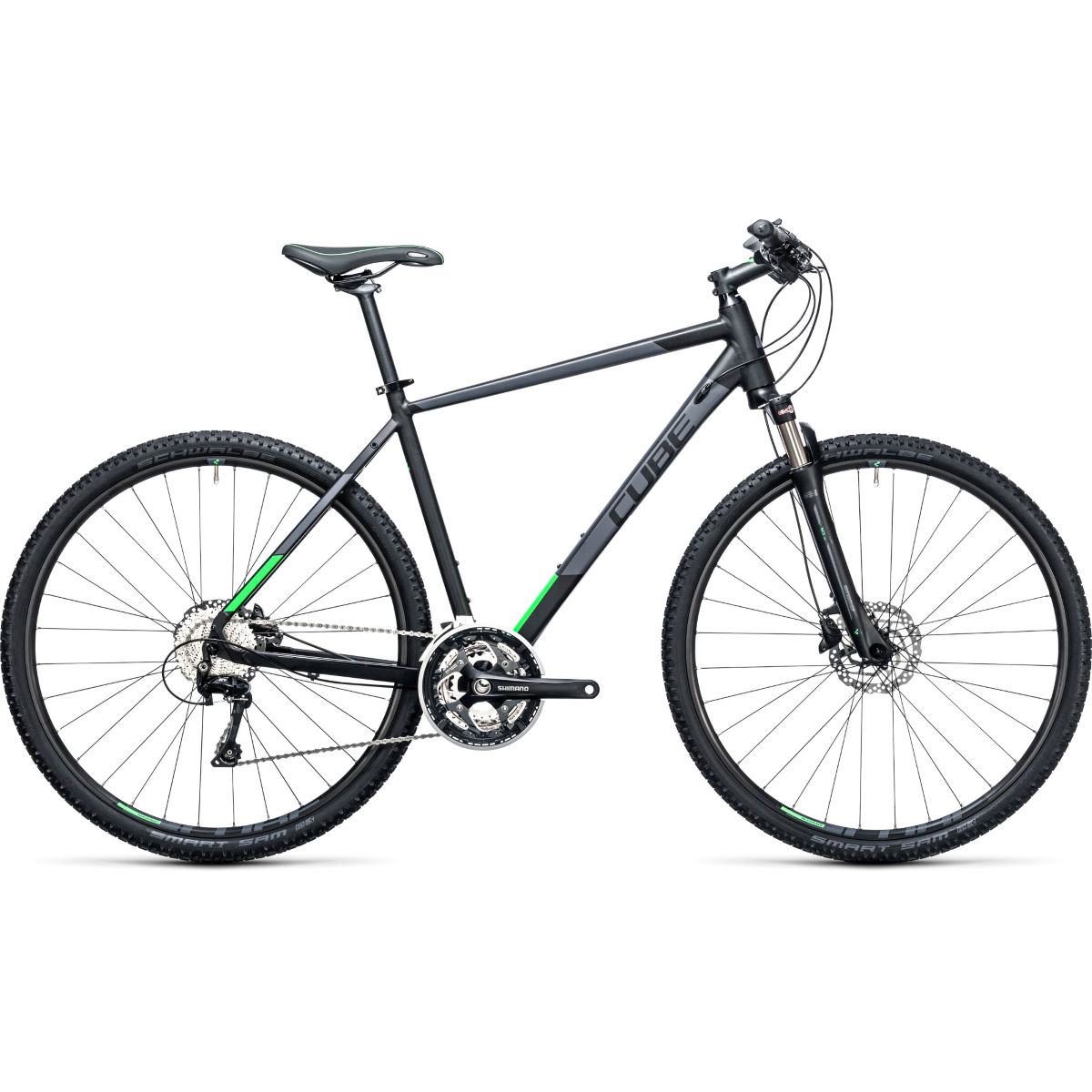 Vélo Cube Cross City (2017) - 50cm Stock Bike Noir/Vert