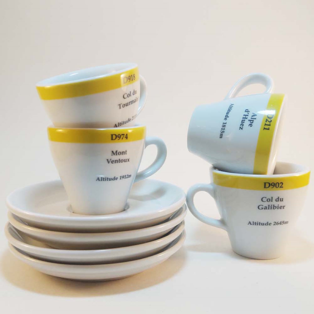 Cycling Souvenirs Europe's Finest Road Climbs Espresso Cups (Set of - Regalos