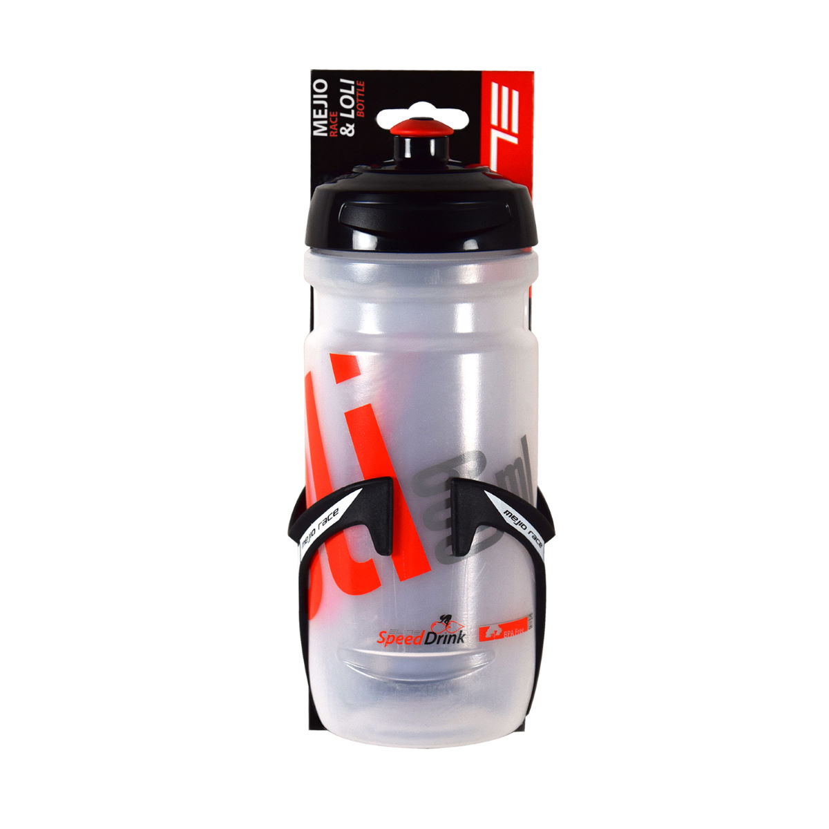 Kit Elite (porte-bidon Mejio + bidon Loli) - 600ml Black/Clear