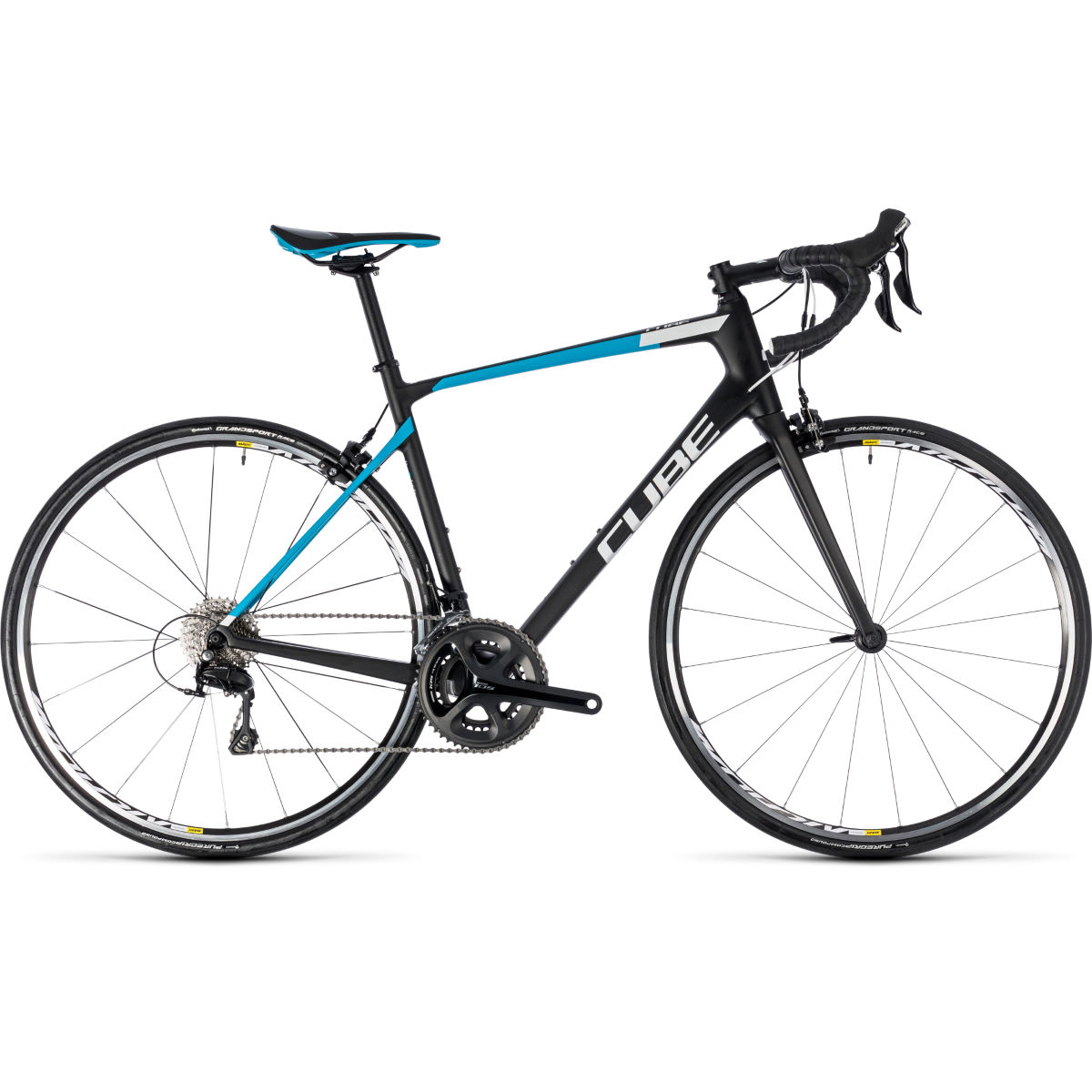 Vélo de route Cube Attain GTC Pro - 53cm Stock Bike Noir/Bleu
