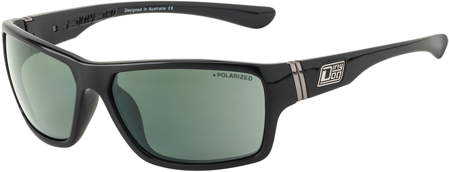 Dirty Dog Shock Polarised Sunglasses - Sonnenbrillen - Freizeit Black-Green Lens One Size MSKyd0DZ