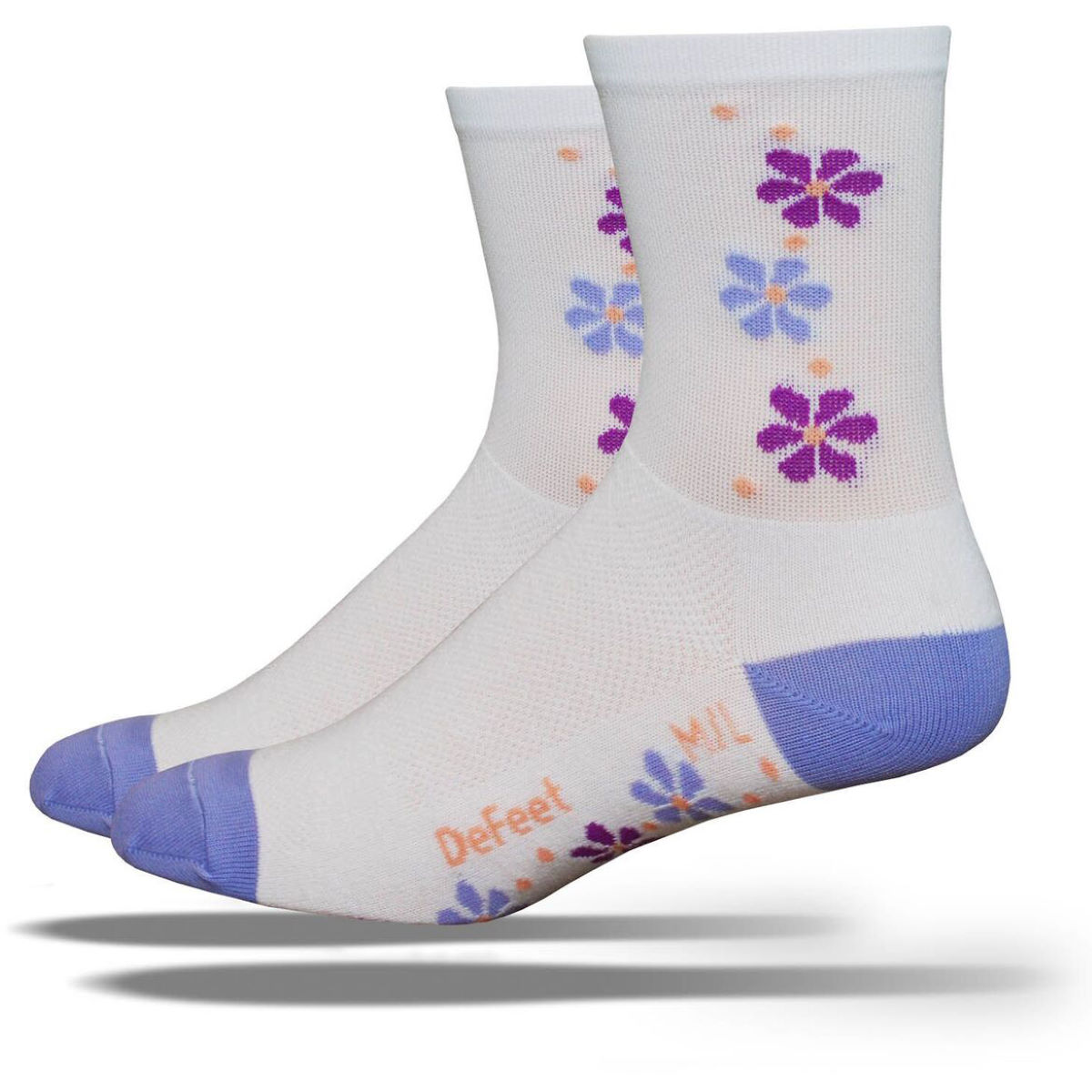 Chaussettes DeFeet Aireator Tall Pansy - M/L Blanc Chaussettes vélo