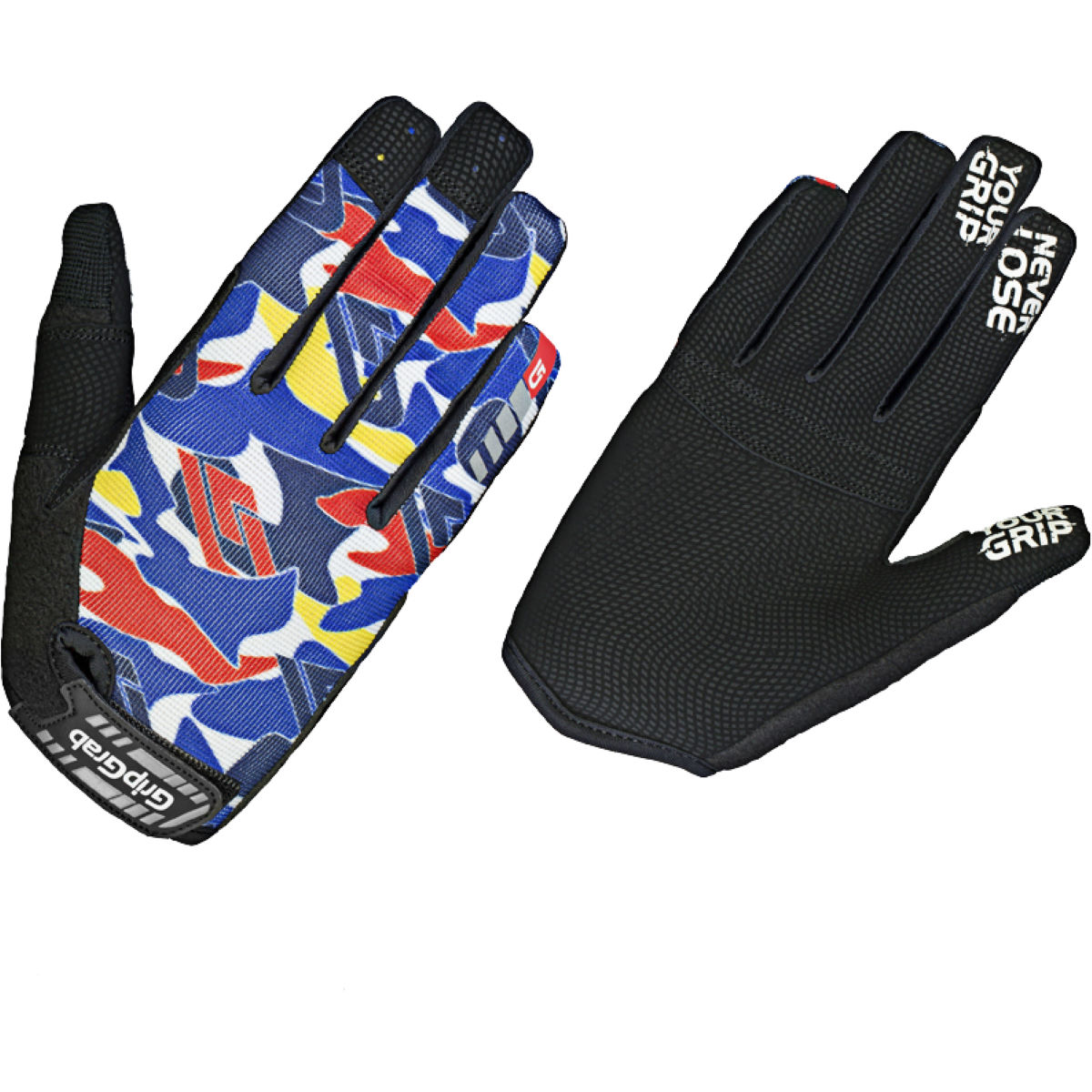GripGrab Kids Rebel Gloves - L Blue Camo | Long Finger Gloves
