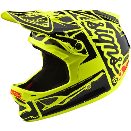 Troy Lee Designs D3 Fiberlite Helmet-Factory Flo Yellow