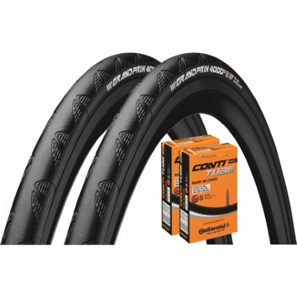Continental 2 Grand Prix 4000S II 23c Tyres with 2 Tubes