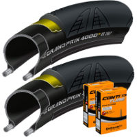 Continental 2 Grand Prix 4000S II 28c Tyres and 2 Tubes
