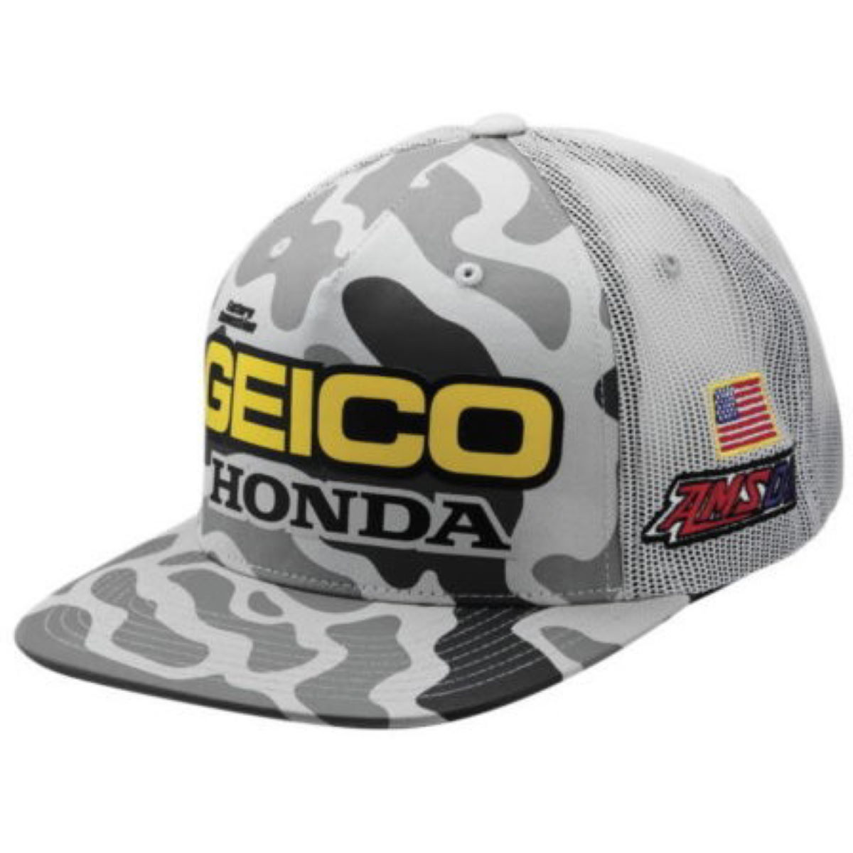 100% Geico Honda Podium Snapback Hat - One Size Snow Camo | Hats