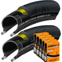Continental 2 Grand Prix 4000S II 25c Tyres with 5 Tubes