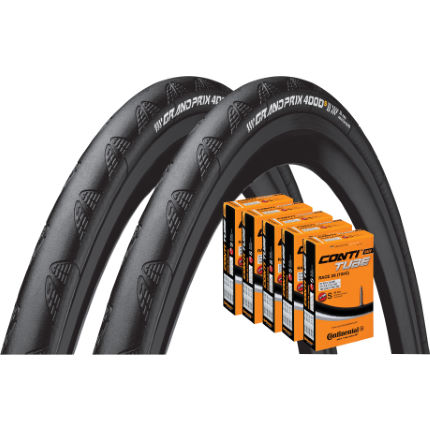 Continental 2 Grand Prix 4000S II 28c Tyres with 5 Tubes
