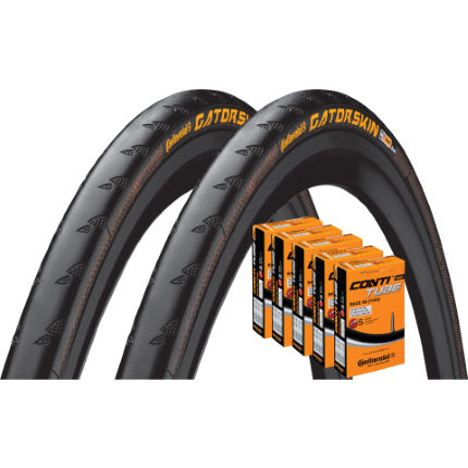 Continental 2 Gatorskin 25c Tyres with 5 Tubes