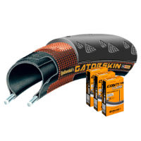 Continental Gatorskin 23c Tyre with 3 Tubes