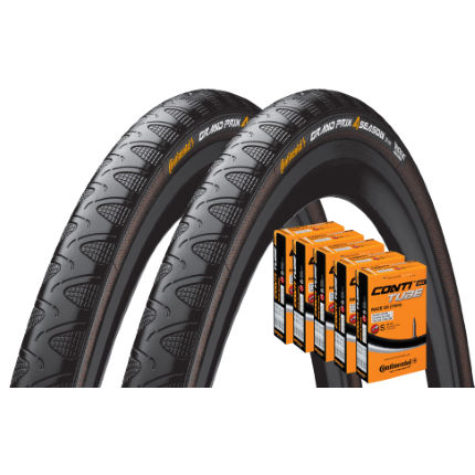 Continental 2 Grand Prix 4 Season 28c Tyres and 5 Tubes