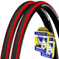 Michelin 2 Pro 4 Endurance Red 23c Tyres & 2 Free Tubes