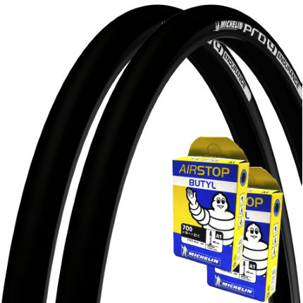 Michelin 2 Pro 4 Endurance 25c Tyres and 2 Free Tubes