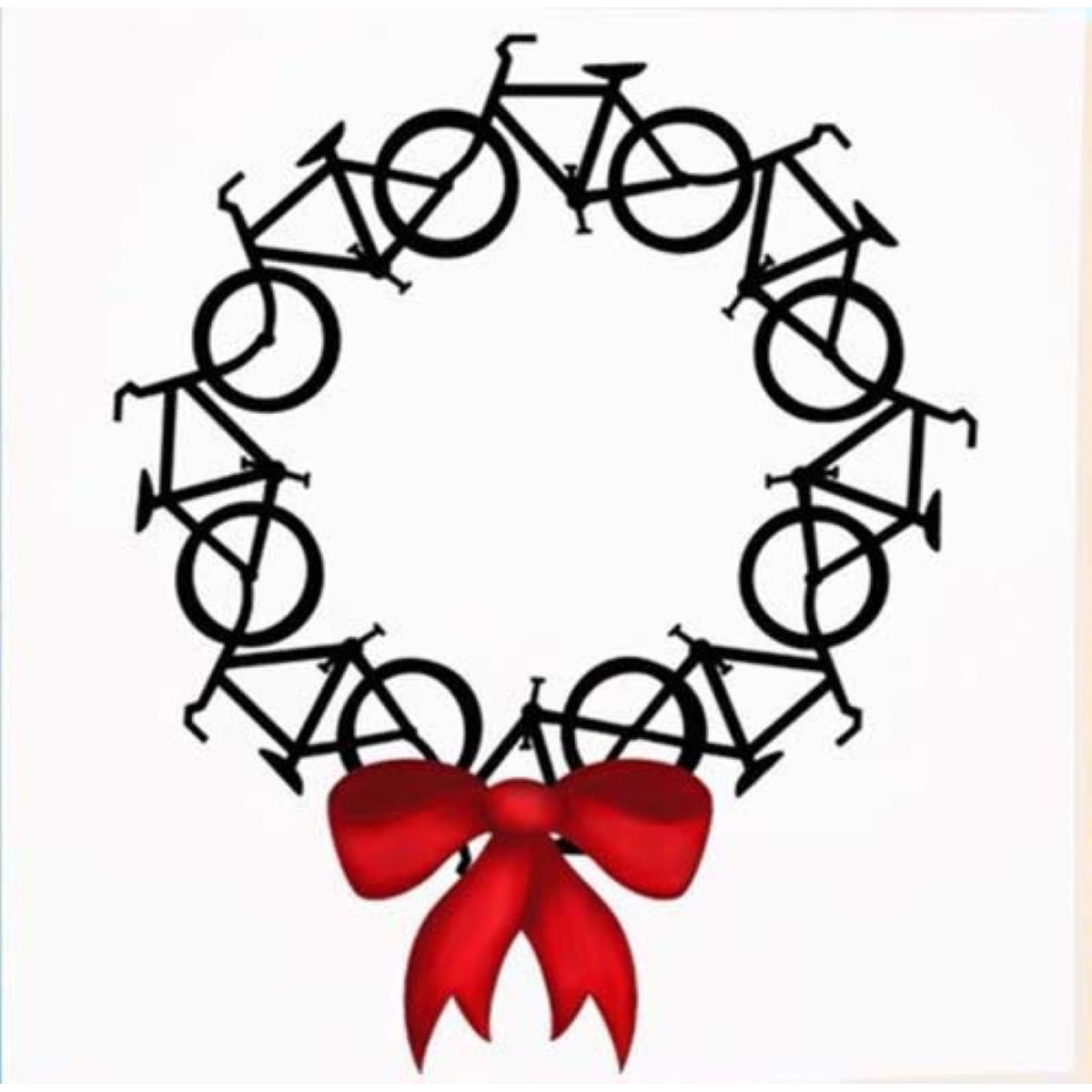 Worry Less Designs Bike Wreath Christmas Card - Regalos