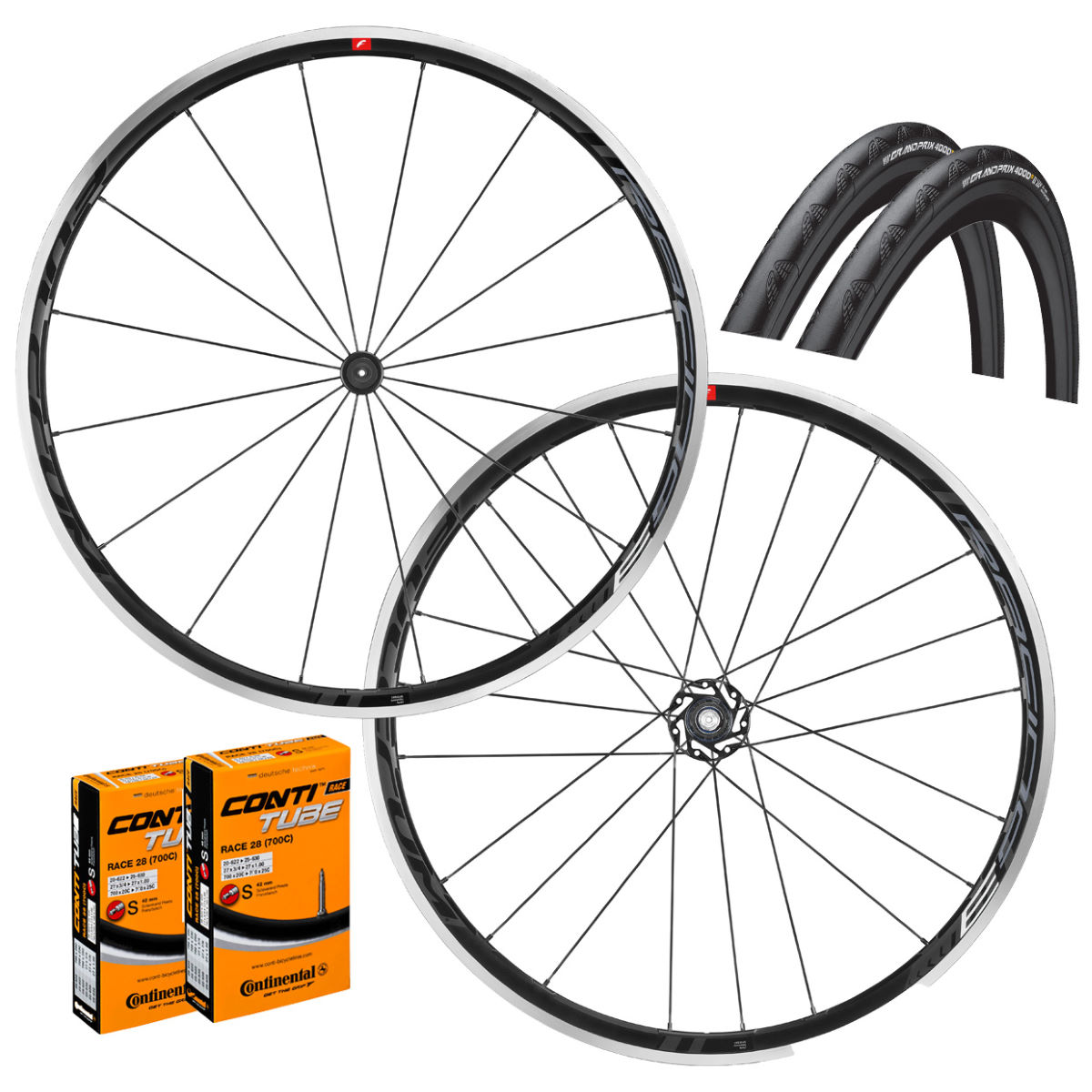 Fulcrum Racing 3 C17 Clincher Wheels GP4000s II Bundle - Juegos de ruedas