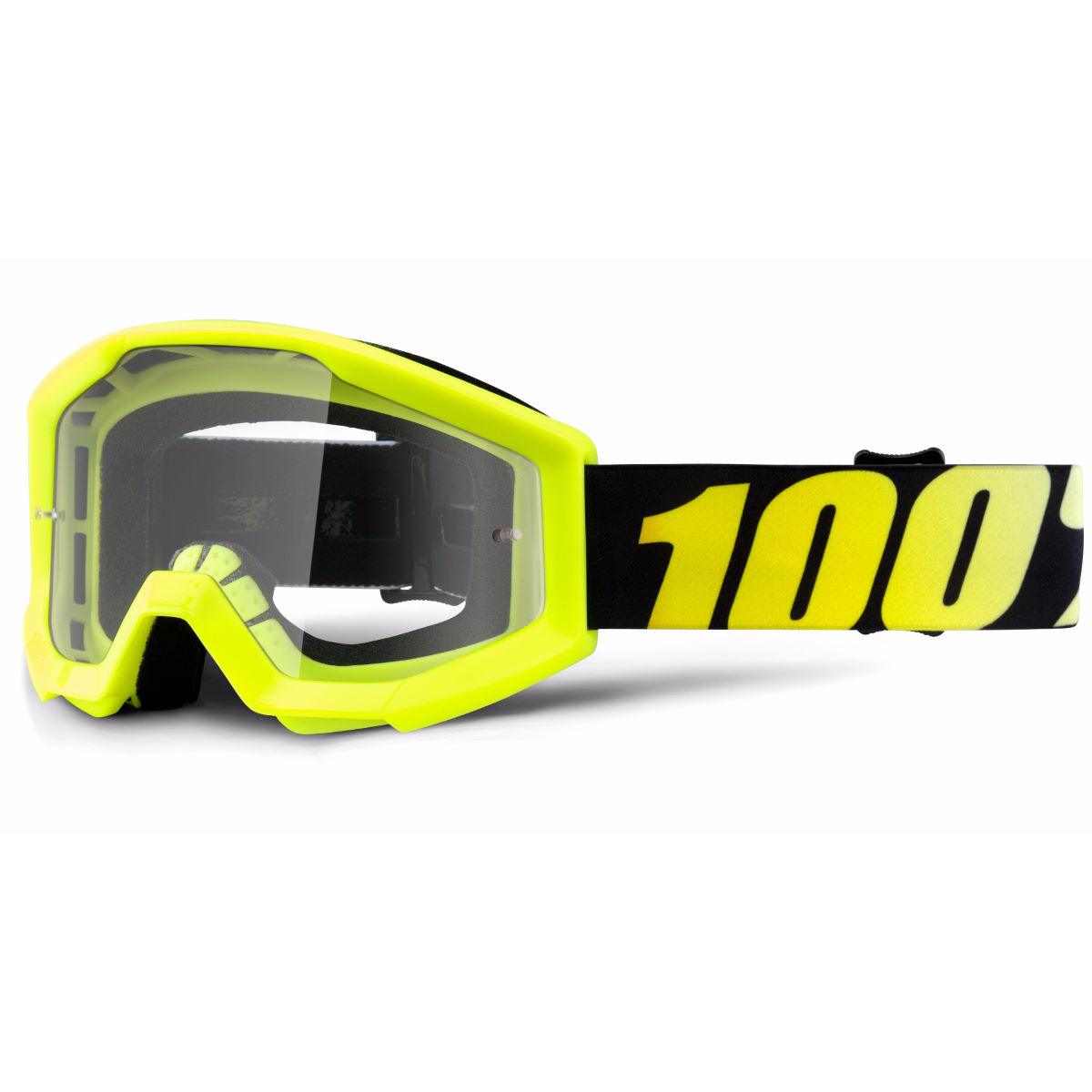 100% Strata Youth Goggles - One Size Neon Yellow - Clear