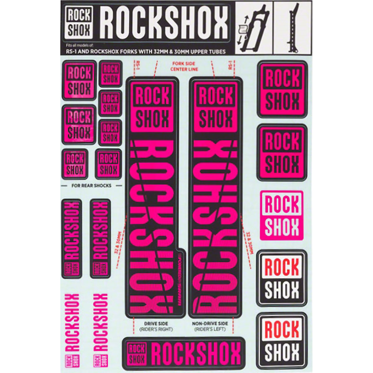 RockShox Decal Kit 30 - 32mm - Recambios para suspensión