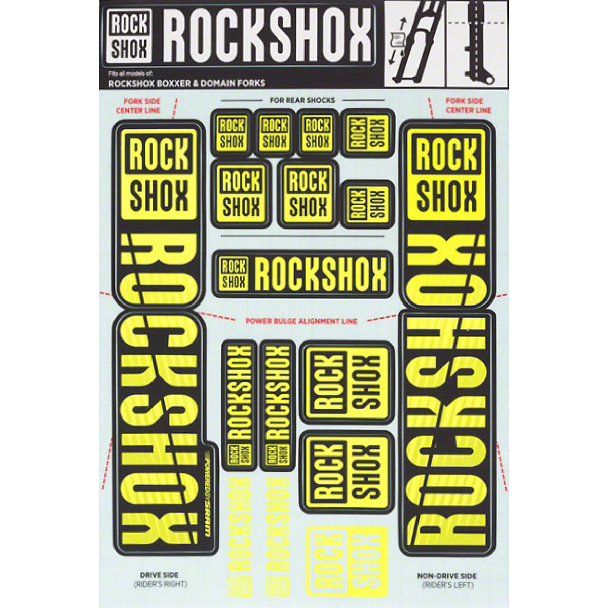 RockShox Decal Kit 35mm - Dual Crown - Recambios para suspensión