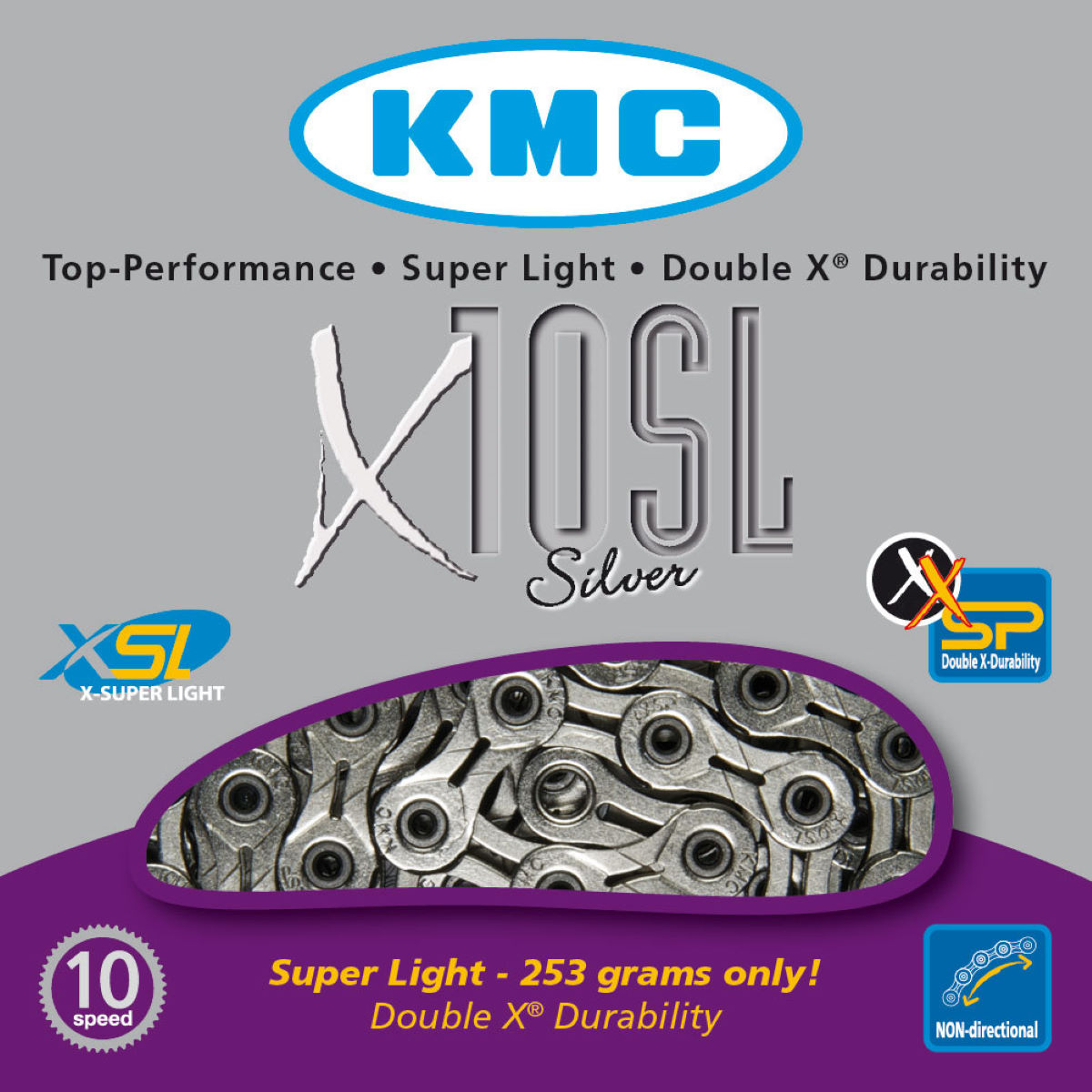 Chaîne KMC X10-SL 10 vitesses (argentée) - 10 Speed, 114 Links
